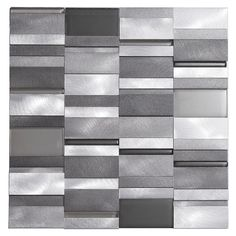 Aluminum Tile Silver Mix Modern Pattern is a blend of aluminum and glass tiles mesh mounted on a 12 inches by 12 inches fiberglass sheet for an easy installation. The tile is 8mm thick and can be used