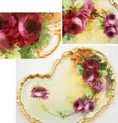 Limoges Pickard Hand Painted Pink Roses Tray Dresser Vanity Artist Signed #GuerinLimogesFrance