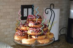 Pinned it, made it.I made a stacked donut cake for the twins third birthday. Pinned it, made it…I made a stacked donut cake for the twins third birthday. I just got chocolate Krispy Kreme Birthday, Birthday Pancakes, Birthday Cake, Pancakes And Pajamas, Sleepover Birthday Parties, Cake Platter, Tea Party Theme, Donut Party, Breakfast Cake