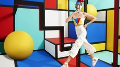 Previously entertaining a quirky cartoon aesthetic for the fall/winter 15 campaign, where pop art paintings were the primary inspiration for the environments, Sagmeister & Walsh have continued their… Pop Art Fashion, Fashion Shoot, Editorial Fashion, Mondrian, Psychedelic Art, Moda Pop Art, Sagmeister And Walsh, Pantone, Exploration