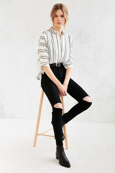Silence + Noise Bombero Striped Button-Down Shirt - Urban Outfitters