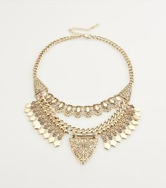 This gold aztec statement necklace is everything