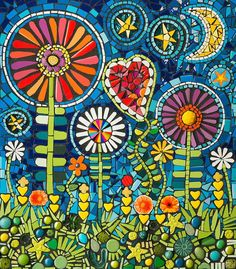 """""""Kate's Garden"""" Mixed media mosaic by Flair Robinson. 14""""x 16"""" ceramic tile and glass with mixed media.:"""