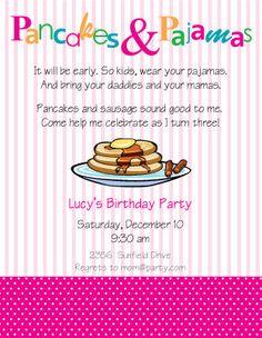 Pancakes and Pajamas party invitation PINK by daviesj1 on Etsy, $10.00