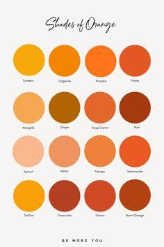 Orange Color Palettes, Colour Pallette, Colour Schemes, Colour Chart, Purple Color Names, Shades Of Orange Names, Calming Colors, Color Psychology, Color Theory