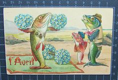 Dressed Fish April Fool's Forget Me not Embossed Postcard | eBay