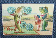Dressed Fish April Fool's Forget Me not Embossed Postcard | eBay