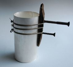 Stuart Cairns - Silver Vessel with screws, silver, found objects and linen thread, 50x50x120mm