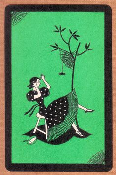 Stylized Little Miss Muffet playing card by katinthecupboard, via Flickr
