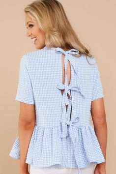 Countdown To You Blue Gingham Top Peplum, Ruffle Blouse, Blue Gingham, Top Top, Skort, Boutique, My Style, Tired, How To Wear
