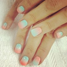 mint and pastel pink ombre nails #nails #pastel #mint #beauty #manicure #nail_art #ombre