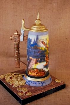 World of Warcraft Beer Stein Cake By cupadeecakes on CakeCentral.com World Of Warcraft, Warcraft Art, Unique Cakes, Creative Cakes, Beautiful Cakes, Amazing Cakes, Realistic Cakes, Cake Wrecks, Gateaux Cake
