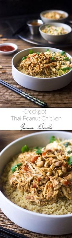 Crockpot Thai Peanut Chicken Quinoa Bowls - An easy, weeknight friendly dinner where the slow cooker does all the work for you! It tastes like your favorite Thai restaurant, but is healthy and gluten free!   Foodfaithfitness.com   #recipe