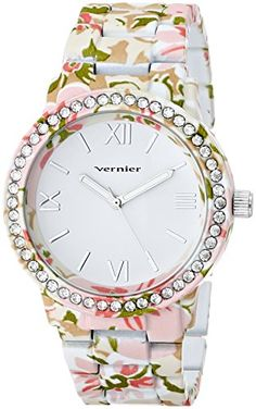 Women's Wrist Watches - Vernier Womens VNR11168E Vernier RhinestoneAccented Watch *** More info could be found at the image url.