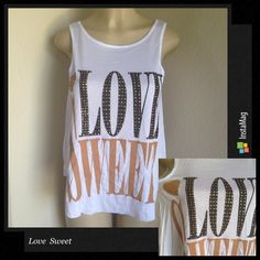 🆕 Love sweet tank top Beautiful tank top with bling bling . Tops Tank Tops