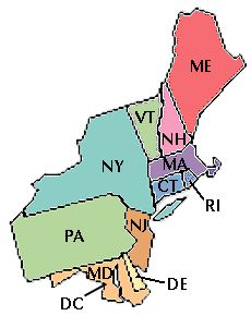 A map of the 11 northeast states | Northeast Region of the United ...