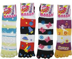 Toe Socks Fun Rubberized Print Soft Toe Socks 4 Pairs Size 9-11 Mix 6