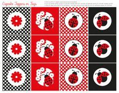 Ladybug imprimible Cupcake Toppers descarga por ThumbAlinaLane