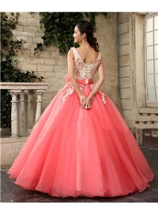 2017 New V-Neck Applique Sweet 15 Ball Gown Coral Satin Tulle Prom Dress Gown Vestidos De 15 Anos Red Wedding Gowns, Buy Wedding Dress, Evening Dresses For Weddings, Colored Wedding Dresses, Tulle Prom Dress, Ball Gown Dresses, Pinterest Gowns, Gown Dress Online, Red Colour Dress