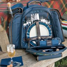 Pendleton Indigo Plaid Picnic Backpack! $99. I can't wait to get one of these.