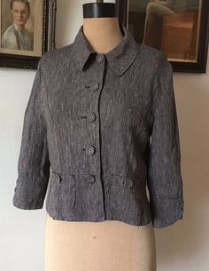 UK SIZE 10 WOMENS HOBBS LINEN JACKET/TOP THIN STRIPE BLACK AND GREY FITTED