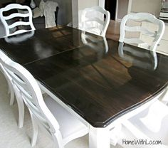 refinish dining room table. Before and after. White base ...