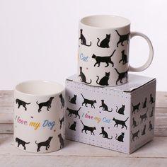 """Porcelánové hrníčky z kolekce """"I love my cat"""" a """"I love my dog"""" pro všechny, kteří milují svého čtyřnohého společníka."""
