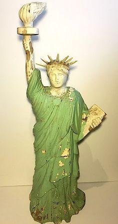 "Statue of Liberty Antique Folk Art 34"" tall  Trade Figure Sculpture Carving.  Circa 1900 Collection Jim Linderman"