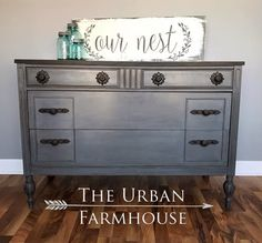 """""""This stunning dark beauty has been restyled and given new life. The body has been hand painted using General Finishes Driftwood Milk Paint, glazed in (GF) Pitch Black, and finished with just the perfect about of light distressing. The top has a custom stain and has been finished in a flat poly for durability."""" - The Urban Farmhouse"""