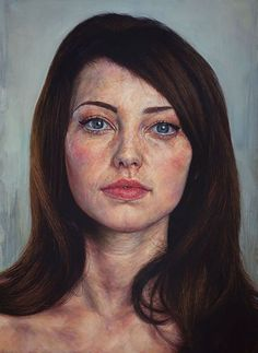 Ian Cumberland (b. 1983), oil on linen {figurative realism art brunette female head woman face portrait painting #loveart} iancumberland.com