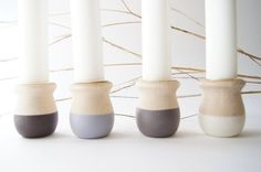 Image of Tradition Candle Cup Set of 4 Natural Wedding Favors, Candle Cups, Organic Lines, Romantic Evening, Romantic Cottage, Cupping Set, Ceramic Clay, Burning Candle, Season Colors