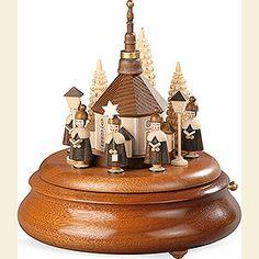 Elektronische Spieldose - Kurrende mit Seiffener Kirche natur - 19cm
