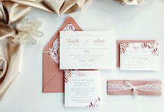 Dusty Rose wedding invitation lace wedding by DesignedWithAmore