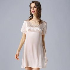 e692fb721 New-Fashion-Spring-Summer-Lace-Nightgown-Short-Sleeved-