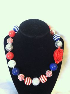 Women's/Girls' Red, White, and Blue Bubblegum Chunky Necklace on Etsy, $15.00