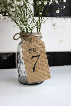 rustic burlap table number by MontanaSnow on Etsy