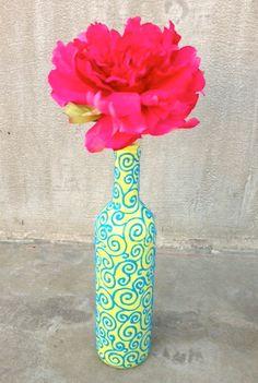 HandPainted Wine Bottle Vase  pattern