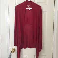 SOLD - Merlot long cardigan NWT Boutique item - Merlot cardigan, long in front. Really beautiful just doesn't fit me how I prefer. Rayon. Tops