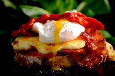 croque-monsieur et jaune d'oeuf Egg Nest, Bruschetta, Meatloaf, Quiche, Entrees, Mashed Potatoes, Hamburger, Sandwiches, Toast