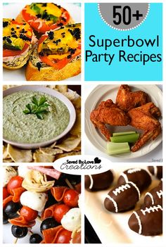 Are you ready for the Superbowl? I will be honest, I couldn't really care less about the game, but parties are my thing. This collection of over 50 superbowl appetizer and game night recipes will. Game Day Snacks, Game Day Food, Holiday Recipes, Party Recipes, Football Food, Football Parties, Party Dishes, Appetizer Recipes, Appetizers Superbowl