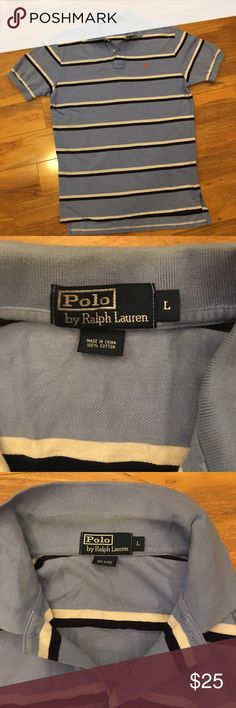 EUC!!! Polo by Ralph Lauren- Men's Polo EUC! Polo by Ralph Lauren-Men's Polo. Size Large. Color is stripes of navy, light blue and white with an orange pony. Some discoloration on the crease of the collar (see third pic) but it's not even noticeable when wearing! Polo by Ralph Lauren Shirts Polos