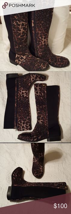 Stuart Weitzman Cheetah & Black Crystal Boots NWOT NWOT! Stuart Weitzman Cheetah & Black Crystal Boots. Side Zippers. Stretch Black Panels. Cheetah Print with Black Crystals. 1/2 inch heels. Rubber Soles. Stuart Weitzman Shoes Heeled Boots