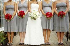Grey dresses, red anemones