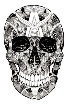 Black & White Illustrations by Iain Macarthur ⋆ Art And Illustration, Mandala Art, La Santa Muerte Tattoo, Tattoo Caveira, Architecture Tattoo, Skull And Bones, Memento Mori, Skull Art, Doodle Art