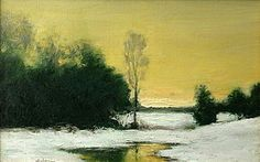 dennis sheehan paintings   dennis sheehan american b 1950 winter sunset landscape painting oil