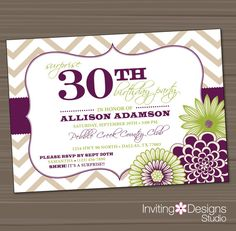 Birthday Party Invitation, 20th, 25th, 30th, 40th, 50th, Purple, Green, Surprise, Chevron - Customize your Colors (PRINTABLE FILE)