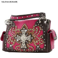 *+NEW+TOP+QUALITY+LEATHERETTE+MATERIAL  *+TWO+STRAPS  *+FRONT+RHINESTONE+CROSS+ORNAMENT  *+TOP+ZIP+CLOSURE  Specification  MEASUREMENTS+12.5+(L)+X+10+(H)+X+4.5+(W)