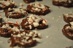 holiday snack! chocolate covered pretzels with crushed peppermint