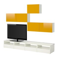 BESTÅ Mobile TV, combinazione, bianco, Tofta molto lucido/giallo bianco/Tofta molto lucido/giallo 240x20/40x178 cm