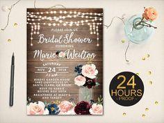 Rustic Bridal Shower Invitation Blush Maroon Flowers